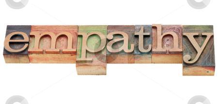 Empathy word stock photo, empathy - isolated word in vintage wood letterpress printing blocks by Marek Uliasz