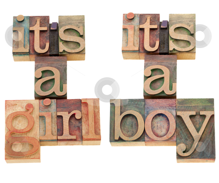 Happy message - new baby stock photo, it is a girl (boy) - a happy announcement in two versions - isolated vintage wood printing blocks by Marek Uliasz