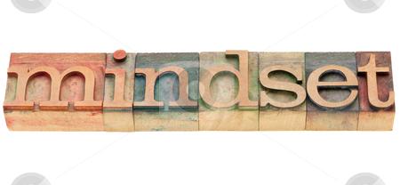 Mindset word stock photo, mindset  - isolated word in vintage wood letterpress printing blocks by Marek Uliasz