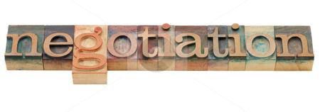 Negotiation word stock photo, negotiation - isolated word in vintage wood letterpress printing blocks by Marek Uliasz