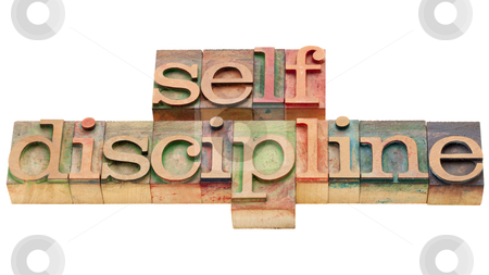 Self discipline stock photo, self discipline - isolated text in vintage wood letterpress printing blcoks by Marek Uliasz