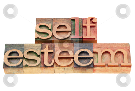 Self esteem concept stock photo, self esteem - isolated text in vintage wood letterpress printing blocks by Marek Uliasz