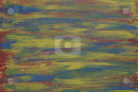 Rough painted wood stock photo, green, yellow, blue and red  abstract with wood texture - acrylic paint on rough and grunge plywood by Marek Uliasz