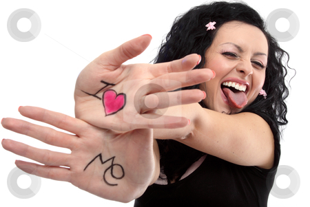 I love Me stock photo, Beautiful lady with a notice on her hands &quot;I love me&quot;.  by vilevi