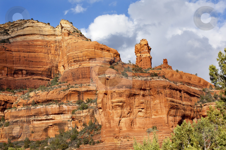 Clouds Blue Sky Over Boynton Red Rock Canyon Sedona Arizona stock photo, High Clouds Blue Sky Boynton Red Rock Canyon Green Trees Sedona Arizona by William Perry