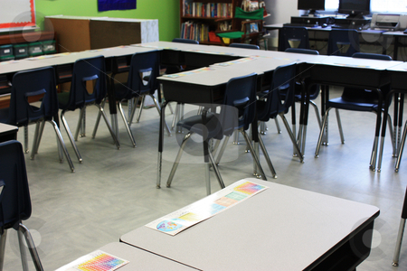 Back to School stock photo, Classroom at elementary school waiting for kids to start back to school by photolady