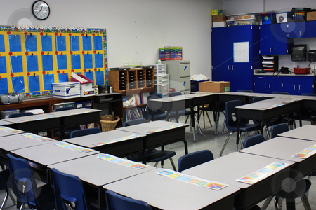 Classroom stock photo, Elementary classroom set up for the first day of school by photolady