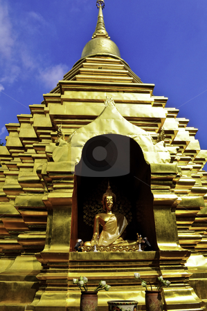 Thailand Gold Temple stock photo, A golden wat with buddha in Chiang Mai, Thailand by elemery