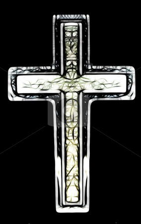 Christian Cross Art stock photo, Two Layered Isolated Christian Cross Art Illustration