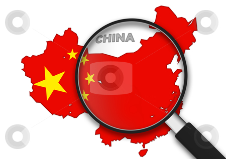 Magnifying Glass - China stock photo, Magnifying Glass with the China country Map on white background. by kbuntu