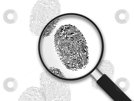 Magnifying Glass - Finger Prints stock photo, Magnifying Glass with finger prints on white background. by kbuntu