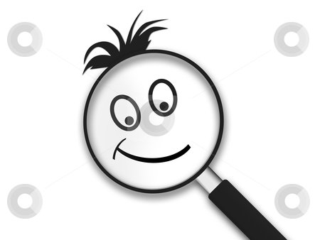 Magnifying Glass Smiley stock photo, Magnifying Glass with a smiley clipart face on white background. by kbuntu