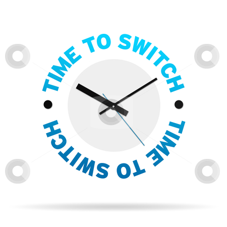 Time To Switch Clock stock photo, Clock with the words time to switch on white background. by kbuntu