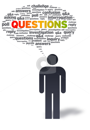 Paper Man with questions Bubble stock photo, Paper man with questions bubble on white background.  by kbuntu