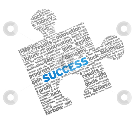 Success Puzzle stock photo, Red Success Puzzle on white background.  by kbuntu