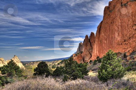 Garden of the Gods stock photo, A high dynamic range landscape photo of the red rocks in the Garden of the Gods park in Colorado Springs, Colorado. by macropixel