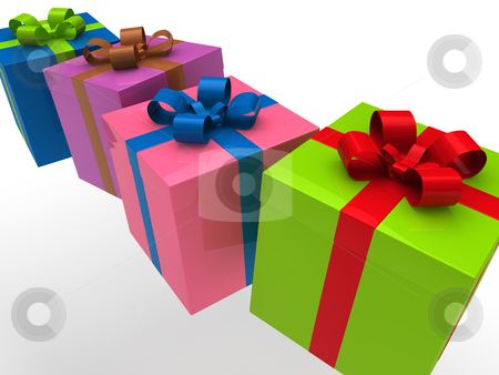 3d gift box stock photo, 3d gift box red green blue pink celebration by d3images
