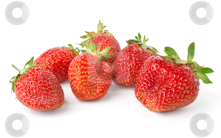 Fruit juicy strawberries stock photo, fruit juicy strawberries isolated on white background by seralex