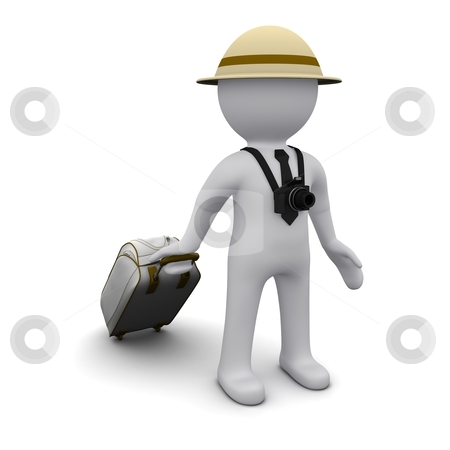 Three-dimensional man stock photo, Three-dimensional man in a hat and a suitcase in the image of a tourist. by Sergey Nivens
