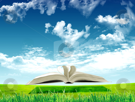 Book and nature stock photo, book in the air against green panoramic nature landscape by Sergey Nivens