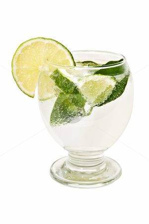 Refreshing cocktail stock photo, tropical cocktail on the white background