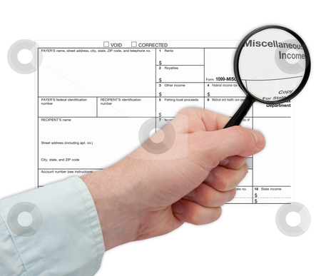 1099 tax Form stock photo, Man's Hand Holding Magnifying Glass over 1099 Tax Form by JAMDesign