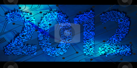 2012 New Year stock photo, 2012 new year modeled with tridimensional blocks over a computer connection board by marphotography