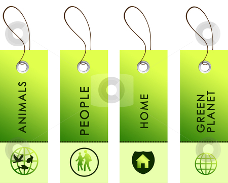 Light green tags with inscriptions stock photo, Light green tags with inscriptions dedicated to protecting the environment by Sergey Nivens