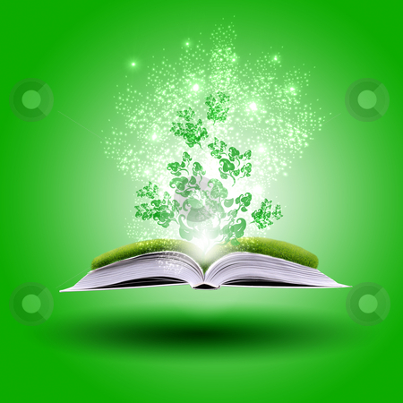 Magic book stock photo, magic book on a  background with the lines and lights by Sergey Nivens
