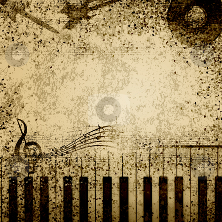 Music notes on old paper stock photo, Background of music notes on old paper by Sergey Nivens