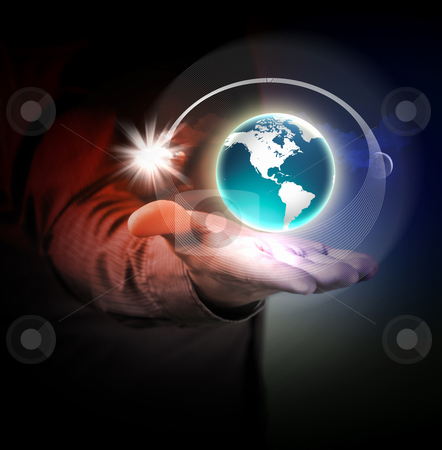 Human hand holding earth stock photo, Man holding a glowing earth globe in his hands by Sergey Nivens