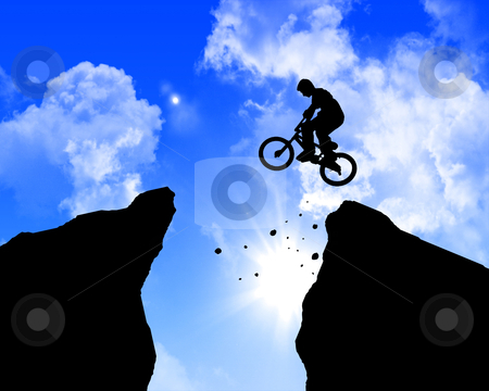 Man jumping on the rocks stock photo, man jumping on the rocks against blue skymountain by Sergey Nivens