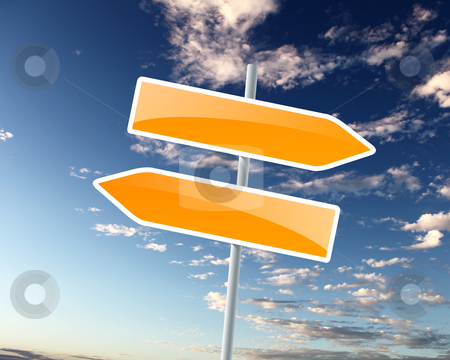 Two road signs stock photo, two road signs against blue skies on the background by Sergey Nivens