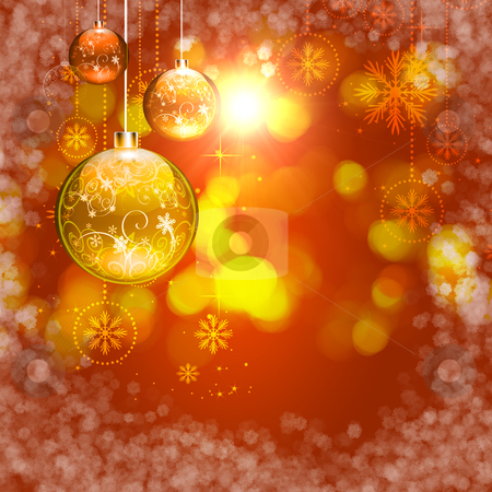 New year and Christmas background stock photo, Abstract background with Christmas tree balls and colored lights on Christmas. Happy New Year! by Sergey Nivens
