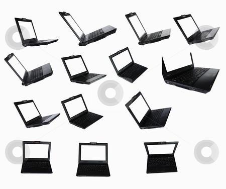 Black notebooks  stock photo, Black notebooks with a white screen at different angles for design work by Sergey Nivens