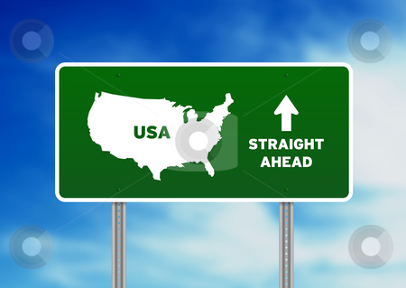USA Green  Highway Sign stock photo, High resolution graphic of a green USA highway sign on Cloud Background.  by kbuntu