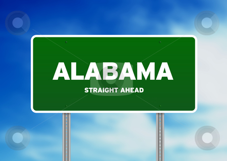 Alabama Green Highway Sign stock photo, High resolution graphic of a alabama green highway sign on Cloud Background.  by kbuntu