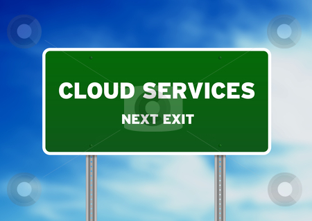 Cloud Services Road Sign stock photo, High resolution graphic of a cloud services road sign on cloud background.  by kbuntu