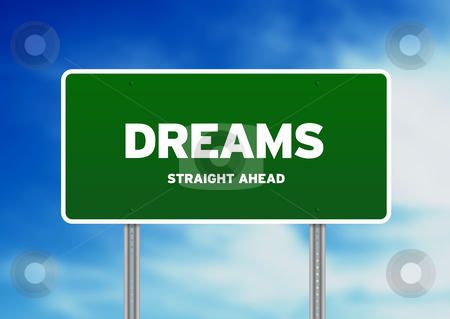 Dreams Highway Sign stock photo, Green Dreams highway sign on Cloud Background.  by kbuntu