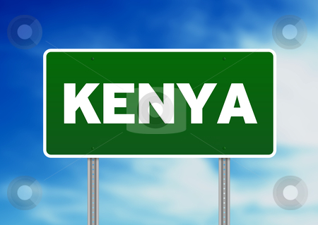 Kenya Highway Sign stock photo, Green Kenya highway sign on Cloud Background.  by kbuntu