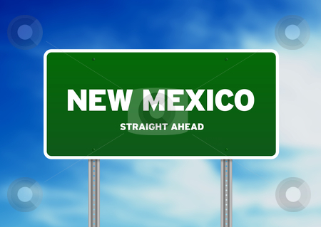 New Mexico Highway Sign stock photo, High resolution graphic of a New Mexico highway sign on Cloud Background.  by kbuntu