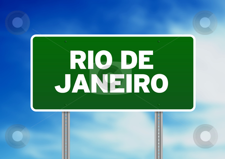 Rio de Janeiro Highway Sign stock photo, Green Rio de Janeiro highway sign on Cloud Background.  by kbuntu