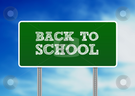 Back To School Highway Sign stock photo, Green Back To School highway sign on Cloud Background.  by kbuntu
