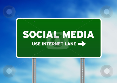 Social Media Street Sign stock photo, High resolution graphic of Social Media Street Sign on Cloud Background.  by kbuntu