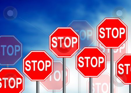 Stop Road Sign stock photo, Multiple stop road sign on cloud Background.  by kbuntu