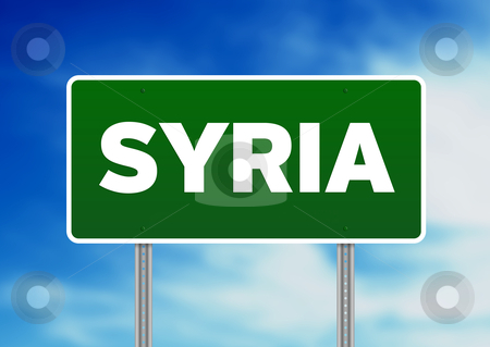 Syria Highway  Sign stock photo, Green Syria highway sign on Cloud Background.  by kbuntu