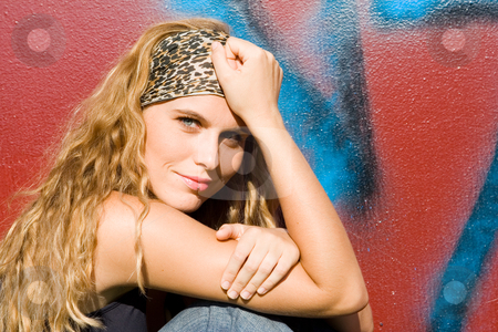Beautiful happy teen or young adult with long blonde, curly hair. stock ...