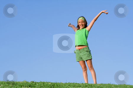 Happy healthy kid outdoors in summer arms raised stock photo, happy healthy kid outdoors in summer arms raised by mandygodbehear