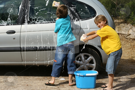 Kids washing car doing chores, stock photo, kids washing car doing chores, by mandygodbehear