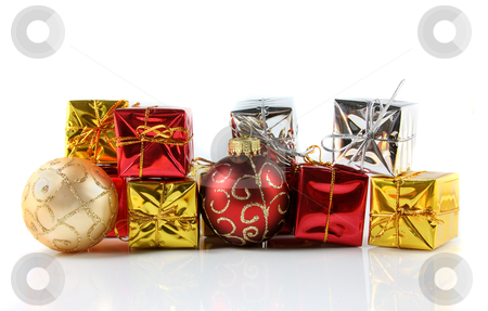 Holiday Gifts stock photo, A studio shot of an arrangement of christmas gifts and ornaments. by macropixel